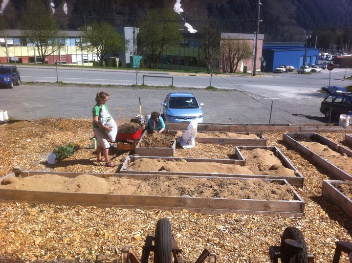 B Street Garden being built by the Douglas Community Gardens